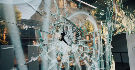 riot damage at business